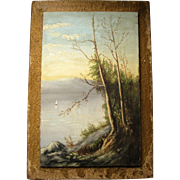 Vintage Oil Painting On Board - Sailboat On Lake