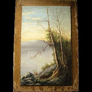 Vintage Oil Painting On Board - Sailboat On Lake