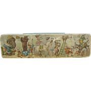 Vintage Tin Box W/ Circus Scenes - Temco Stationery Box