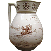 Large Transferware Ironstone Pitcher - Children Dancing