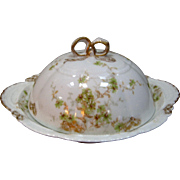 Charming Haviland Limoges 3 Piece Butter Dish - Flowers & Bows - France