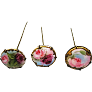Set Of 3 Hand Painted Hat Pins - Roses