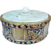 Brass & Enamel Box W/ Faux Jade Cover As Is