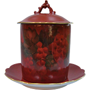 Limoges France Deep Red Hand Painted Jam Jar - Red Currants
