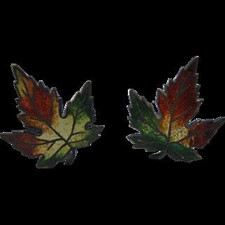 Sterling & Enamel Maple Leaf Hat Pins