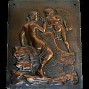 Vintage Bronze Plaque - Winged Cherub - Cupid