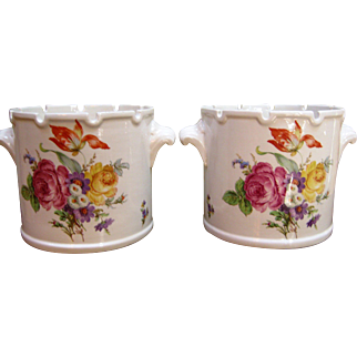 Beautiful Matched Pair Of Mottahedeh Cache Pots / Planters ~ Italy