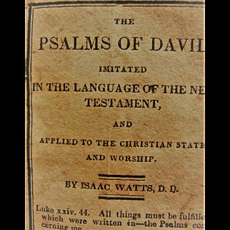 Scarce 1826 Miniature Book ~ Psalms Of David - By Isaac Watts