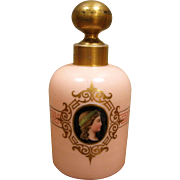 Exquisite Pink Opaline Perfume Bottle ~ Hand Painted Portrait