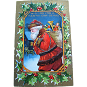 Christmas Postcard - Santa Claus With Glitter