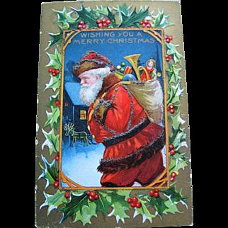 Christmas Postcard - Santa Claus With Glitter