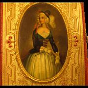 Antique Calling Card W/ Miniature Portrait Lady Equestrian