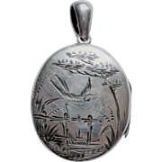 Signed Aesthetic Sterling Silver Locket - Bird On Fence