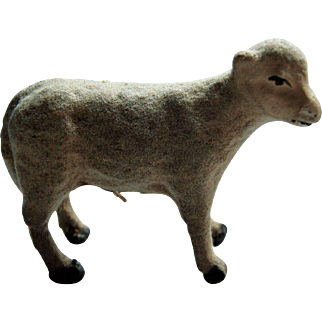 Sweet Little Flocked Putz Christmas Sheep