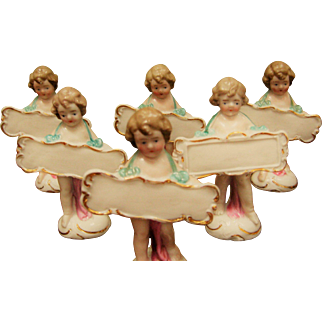 Set Of 6 German Porcelain Figural Place Cards- Signed Germany