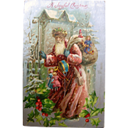 Beautiful German Old World Santa Claus Postcard In Pink Suit 1907