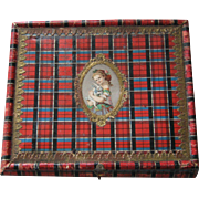 Lovely Tartan Ware Box W/ Dresden Trim & Scrap ~ Girl & Rabbit