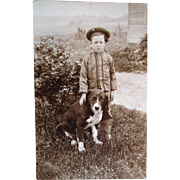 Last Photo Of Poor Old Dog And His Young Owner RPPC