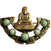 Pretty Gold Tone Brooch / Pin Buddha & Jade Glass Beads - Uncas