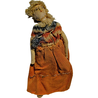 Tiny Vintage Cloth Doll Hand Stitched Needle Work Face