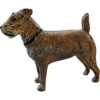Wonderful Miniature Metal Dog - Airedale - Made In Germany