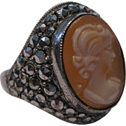 Carved Shell Sterling Silver Cameo Ring W/ Marcasites