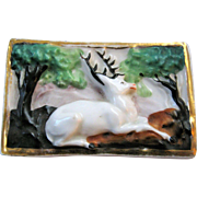 Vintage Porcelain Match Box W/ Striker - Stag In The Woods