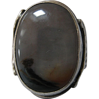 Beautiful Sterling Silver & Landscape Agate Ring