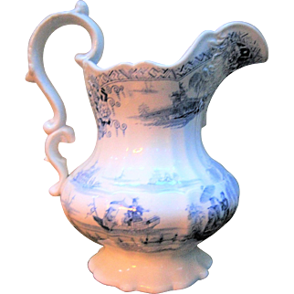 Early Light Blue Transferware Pitcher -  Napier  Imperial Stone - Ca. 1830 /1840