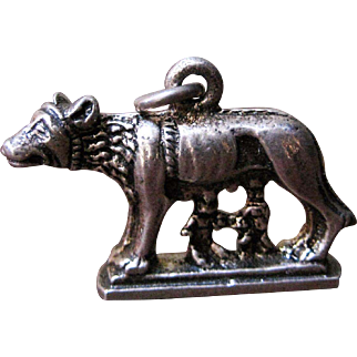 800 Silver Charm - Romulus & Remus & Wolf