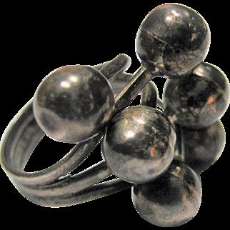 Danish Sterling Silver Modernist Ring Silver Orbs - EVS Trading Haderslev Denmark