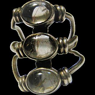 Sterling Silver Rutilated  Quartz Modernist Ring