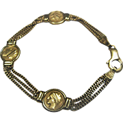 14KT Gold Italian Chain & Disc Bracelet - Made In Italy