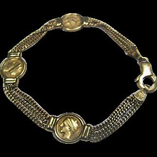 14KT Gold Italian Chain & Disc Bracelet - Made In Italy