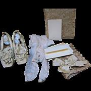 Victorian Satin Wedding Shoes Silk Stockings Bridal Wreath W/ Provenance