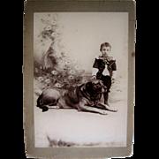 Vintage Cabinet Card  Photo Adorable Little Boy W/ Huge Dog