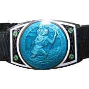 Vintage Silver Tone Guilloche Enamel St. Christopher Medal Bracelet
