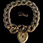 Victorian 9 KT Gold Fill Curb Chain & Heart Lock Bracelet