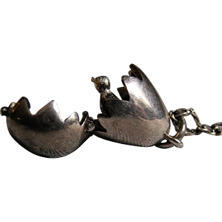 Sterling Silver Pendant - Chick Hatching In Egg  W/ Chain