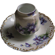 T & V Limoges Hand Painted Violets Hat Pin Holder