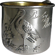 Vintage Silverplate Baby's Mug ~ Stork Carrying Baby