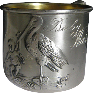 Vintage Silverplate Baby's Mug ~ Stork Carrying Baby