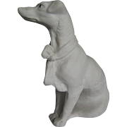 Beautiful Bisque Dog  Hound Figurine Signed Germany
