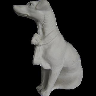 Beautiful Bisque Dog  Hound Figurine Signed Germany