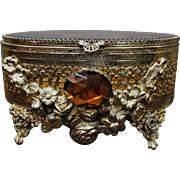 Vintage  Jewelry Casket / Box W/  Amber Glass Stone