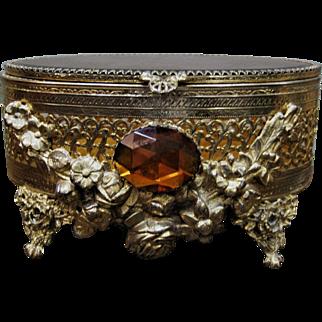 Vintage  Jewelry Casket / Box W/  Amber Glass Stone