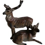 Miniature Metal Deer Figures For Doll House / Diorama