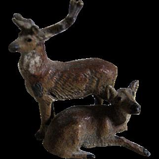 Miniature Metal Deer Figures For Doll House / Diorama