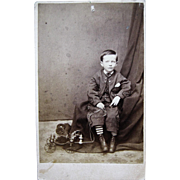 Victorian Cabinet Card Photo - Little Boy W/ Pull Toy Fire Cart