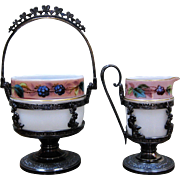 Ornate Victorian Silverplate Creamer & Sugar Art Glass Inserts Hand Painted